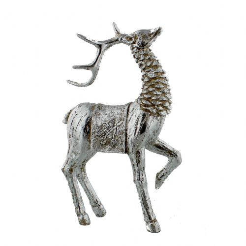 Reindeer Figurine Resin Hand Painted Silver Deer Christmas Ornament Deer Decor